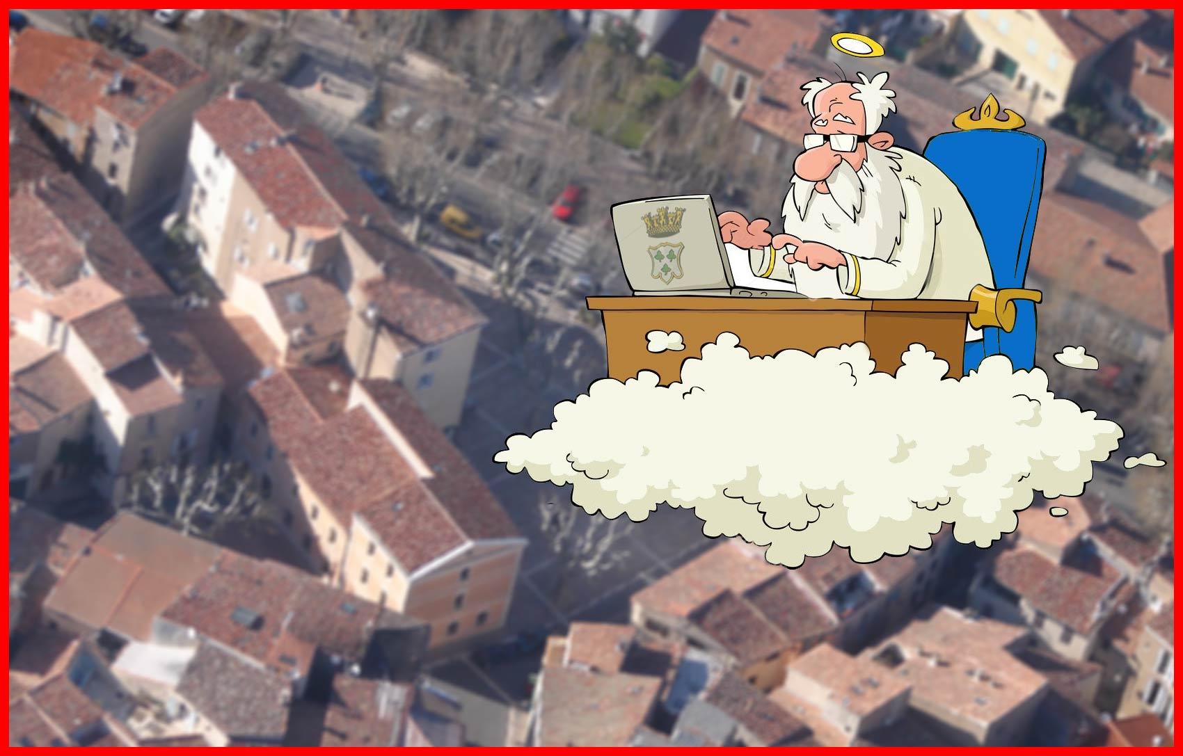 Les aventures humoristiques de DIEU candidat aux Municipales de Trets [Chapitre III : Dieu & son slogan de campagne]
