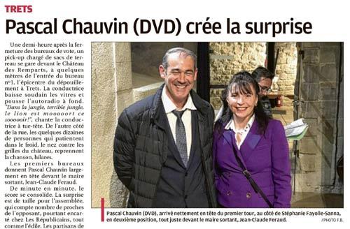 Le 1er tour VU PAR LA PRESSE «Chauvin crée la surprise»