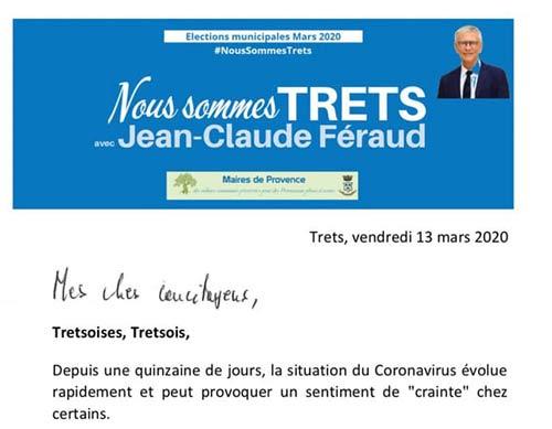 Dernier tract pour Jean Claude Feraud portant sur le coronavirus & les attaques