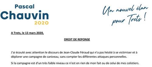Droit de réponse de Pascal Chauvin suite au meeting de son adversaire…