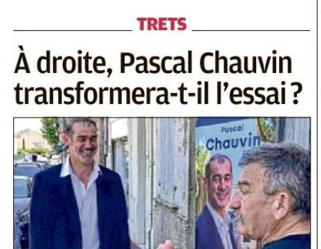 PRESSE : A droite, Pascal Chauvin confirmera t'il l'essai ?