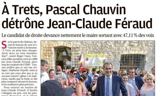 Le 2e Tour vu par la Presse : «A Trets, Pascal Chauvin détrône Jean Claude Feraud»